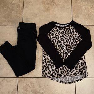 Justice Girls Sz 8 Leopard & Denim Outfit.